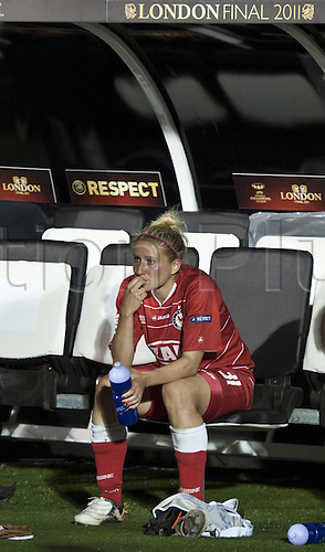 26.05.2011. Craven Cottage  After the Game Anja Lunch Pot sits DISAPPOINTED on the Players bench Football UEFA Women Champions League Season 2010 2011 Final Olympique Lyon 1 FFC Turbine Potsdam in London Craven Cottage England