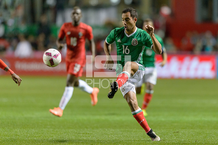 Bridgeview, IL, USA - Tuesday, October 11, 2016: Mexico defender Adrián Aldrete (16) during an international friendly soccer match between Mexico and Panama at Toyota Park. Mexico won 1-0.