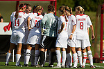 Wisconsin Badgers women's soccer team huddles prior to an NCAA women's soccer game against the Illinois Fighting Illini at the McClimon Memorial Track/Soccer Complex in Madison, Wisconsin on October 10, 2010. Wisconsin and Illinois tied 0-0 in double overtime. (Photo by David Stluka)