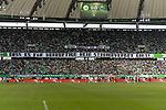 09.09.2017, Volkswagen Arena, Wolfsburg, GER, 1.FBL, VfL Wolfsburg vs Hannover 96<br /> <br /> im Bild<br /> Banner, Fanprotest der VfL Wolfsburg Fans zur Halbzeit auf Trib&uuml;ne, &quot;Unser Problem mit euch ist: Dass es f&uuml;r Korruption kein Stadionverbot gibt!&quot;<br /> <br /> Foto &copy; nordphoto / Ewert