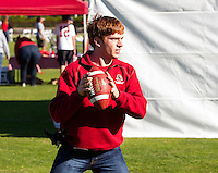 Scott Livingston a Stanford student plays football  before  Saturday, November 23, 2013, Big Game at Stanford University.
