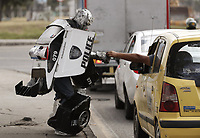 Street performer Luis Rene Cruz, known as 'Colombian Transformer', in Bogota