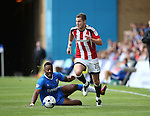 Gillingham's Ryan Jackson tussles with Sheffield United's Paul Coutts during the League One match at the Priestfield Stadium, Gillingham. Picture date: September 4th, 2016. Pic David Klein/Sportimage