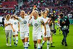 01.05.2019, RheinEnergie Stadion , Köln, GER, DFB Pokalfinale der Frauen, VfL Wolfsburg vs SC Freiburg, DFB REGULATIONS PROHIBIT ANY USE OF PHOTOGRAPHS AS IMAGE SEQUENCES AND/OR QUASI-VIDEO<br /> <br /> im Bild | picture shows:<br /> Sara Bjoerk Gunnarsdottir (VfL Wolfsburg #7) jubelt mit Nilla Fischer (VfL Wolfsburg #4) übder den Pokalsieg, <br /> <br /> Foto © nordphoto / Rauch