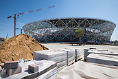 22nd August 2017, Volgograg, Russia; Construction cranes photographed at the Volgograd Arena in Volgograd, Russia, 22 August 2017. The city is one of the locations for the Russia 2018 FIFA World Cup.