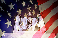 Abraham Lincoln Memorial blended with American flag