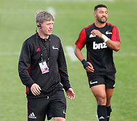 Crusaders backs coach Ronan O'Gara during the round two Super Rugby match between the Crusaders and the Chiefs at AMI Stadium in Christchurch, New Zealand on Saturday, 24 February 2018. Photo: Martin Hunter/ lintottphoto.co.nz