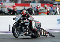 Apr. 27, 2012; Baytown, TX, USA: NHRA pro stock motorcycle rider Eddie Krawiec  during qualifying for the Spring Nationals at Royal Purple Raceway. Mandatory Credit: Mark J. Rebilas-