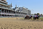 3rd November, 2018, Churchill Downs, Louisville, Kentucky, USA; Horses and jockeys during a race in front of the grandstand. Churchill Downs racecourse.