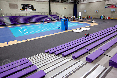 17 OCT 2009 - LOUGHBOROUGH, GBR - Setting up the Sir David Wallace New Sports Hall for the Team England v Japan Badminton International (PHOTO (C) NIGEL FARROW)