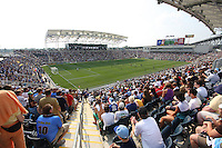 View from the last row during the first MLS match at PPL stadium in Chester, Pa. on June 27 2010. Union won 3-1.