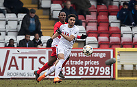 Keanan Bennetts of Spurs U19 & Ibrahima Diallo of AS Monaco FC Youth during the UEFA Youth League round of 16 match between Tottenham Hotspur U19 and Monaco at Lamex Stadium, Stevenage, England on 21 February 2018. Photo by Andy Rowland.
