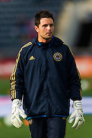 Philadelphia Union goalkeeper Chris Konopka (1) during warmups prior to playing Sporting Kansas City. Sporting Kansas City defeated the Philadelphia Union 3-1 during a Major League Soccer (MLS) match at PPL Park in Chester, PA, on March 2, 2013.