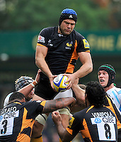 High Wycombe, England. Tom Palmer of London Wasps wins the line out the Aviva Premiership match between London Wasps and Worcester Warriors at Adam Park on October 7, 2012 in High Wycombe, England.