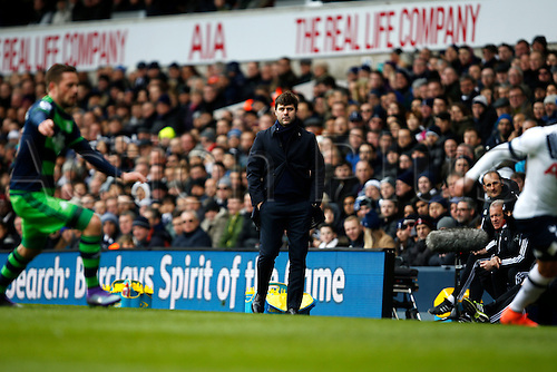 28.02.2016. White Hart Lane, London, England. Barclays Premier League. Tottenham Hotspur versus Swansea City. Tottenham manager Mauricio Pochettino watches the action