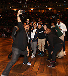 "James Monroe Iglehart with students  during The Rockefeller Foundation and The Gilder Lehrman Institute of American History sponsored High School student #eduHam matinee performance of ""Hamilton"" Q & A at the Richard Rodgers Theatre on November 28, 2018 in New York City."