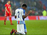 Michael Amir Murillo of Panama prays during the international friendly soccer match between Wales and Panama at Cardiff City Stadium, Cardiff, Wales, UK. Tuesday 14 November 2017.