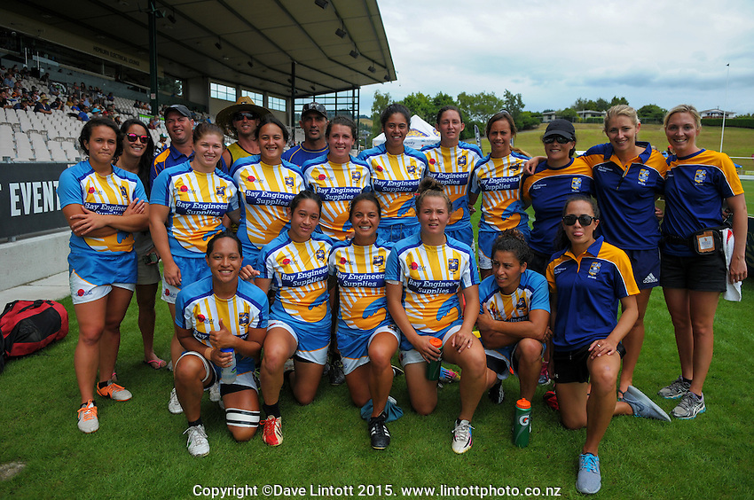 The Bay Of Plenty women's team pose for a group photo during day one of the Bayleys National Sevens at Rotorua International Stadium, Rotorua, New Zealand on Saturday, 17 January 2015. Photo: Dave Lintott / lintottphoto.co.nz