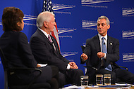 January 14, 2013  (Washington, DC)  Neera Tanden (left), President of the Center for American Progress, moderates a discussion on gun violence with Rep. Mike Thompson (D-CA) (center) and Chicago Mayor Rahm Emanuel (right). (Photo by Don Baxter/Media Images International)
