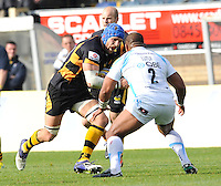 High Wycombe, England. James Haskell of London Wasps in action during the Aviva Premiership match between London Wasps and Worcester Warriors at Adam Park on October 7, 2012 in High Wycombe, England.