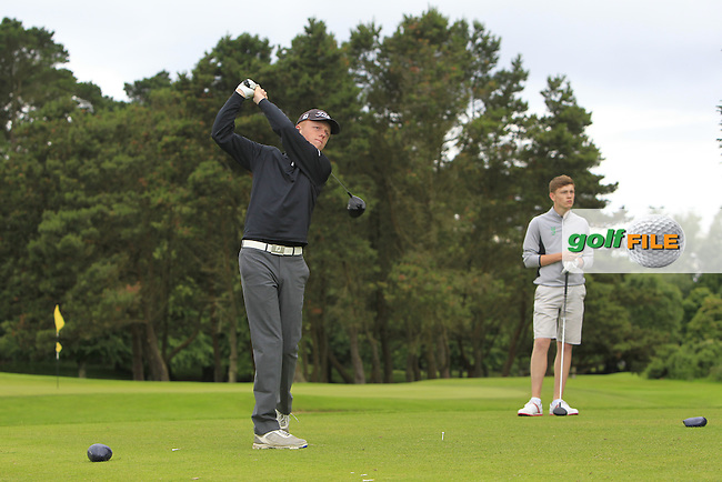 Jack Doherty (Carton House) on the 15th tee during R2 of the 2016 Connacht U18 Boys Open, played at Galway Golf Club, Galway, Galway, Ireland. 06/07/2016. <br /> Picture: Thos Caffrey | Golffile<br /> <br /> All photos usage must carry mandatory copyright credit   (&copy; Golffile | Thos Caffrey)