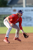 Williamsport Crosscutters third baseman Zach Green (12) during a game against the Batavia Muckdogs on September 4, 2013 at Dwyer Stadium in Batavia, New York.  Williamsport defeated Batavia 6-3 in both teams season finale.  (Mike Janes/Four Seam Images)
