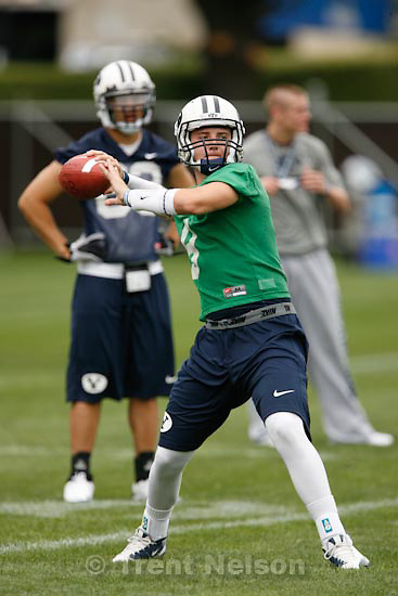Trent Nelson  |  The Salt Lake Tribune.BYU quarterback Jake Heaps at football practice in Provo, Saturday, August 7, 2010.