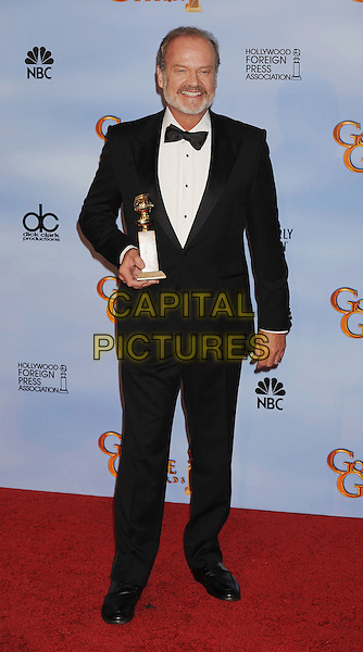 Kelsey Grammer.Press Room at the 69th Annual Golden Globe Awards held at the Beverly Hilton Hotel, Hollywood, California, USA..January 15th, 2012.globes full length tuxedo award trophy winner beard facial hair black white shirt tuxedo bow tie   .CAP/GDG.©GDG/Capital Pictures