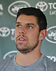 Bryce Petty #9 speaks with the media after a day of New York Jets Training Camp at the Atlantic Health Jets Training Center in Florham Park, NJ on Tuesday, Aug. 8, 2017.