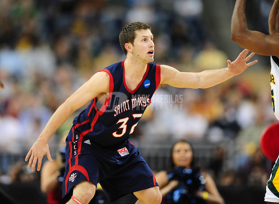 Mar 26, 2010; Houston, TX, USA; St. Marys Gaels guard (32) Mickey McConnell against the Baylor Bears during the semifinals of the south regional in the 2010 NCAA mens basketball tournament at Reliant Stadium.  Mandatory Credit: Mark J. Rebilas-