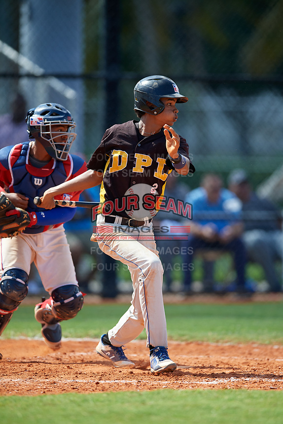 Jondry Vargas (2) during the Dominican Prospect League Elite Florida Event at Pompano Beach Baseball Park on October 15, 2019 in Pompano beach, Florida.  (Mike Janes/Four Seam Images)
