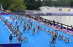 LONDON, ENGLAND - AUGUST 4:  General view of the transition area during the Women's Triathlon Final, Day 8 of the London 2012 Olympic Games on August 4, 2012 at the Hyde Park in London, England. (Photo by Donald Miralle)