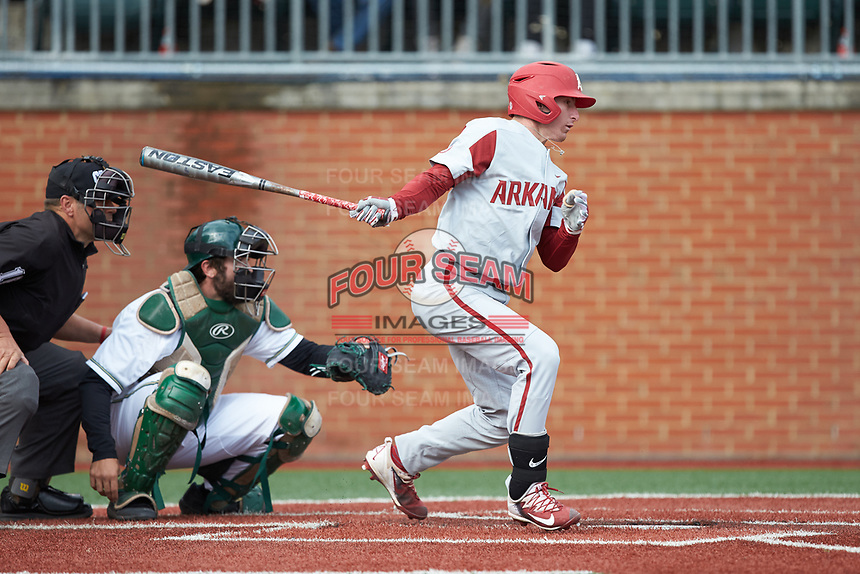 Jax Biggers (9) of the Arkansas Razorbacks follows through on his swing against the Charlotte 49ers at Hayes Stadium on March 21, 2018 in Charlotte, North Carolina.  The 49ers defeated the Razorbacks 6-3.  (Brian Westerholt/Four Seam Images)