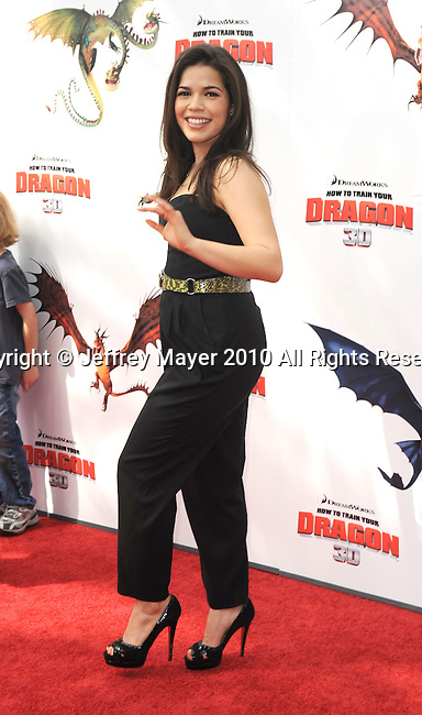 UNIVERSAL CITY, CA. - March 21: America Ferrera arrives at the premiere of ''How To Train Your Dragon'' at Gibson Amphitheater on March 21, 2010 in Universal City, California.