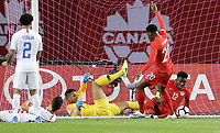 TORONTO, ON - OCTOBER 15: Alphonso Davies #12 of Canada scores a  goal during a game between Canada and USMNT at BMO Field on October 15, 2019 in Toronto, Canada.
