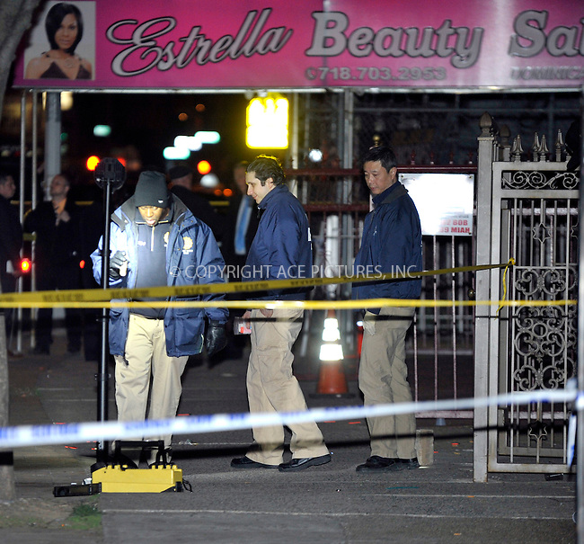 WWW.ACEPIXS.COM<br /> <br /> April 27 2015, New York City<br /> <br /> Police investigate the scene of a drive-by shooting where six people were shot and two killed outside the Emmanuel Church of God in East Flatbush, Brooklyn on April 27 2015 in New York City<br /> <br /> By Line: Curtis Means/ACE Pictures<br /> <br /> <br /> ACE Pictures, Inc.<br /> tel: 646 769 0430<br /> Email: info@acepixs.com<br /> www.acepixs.com