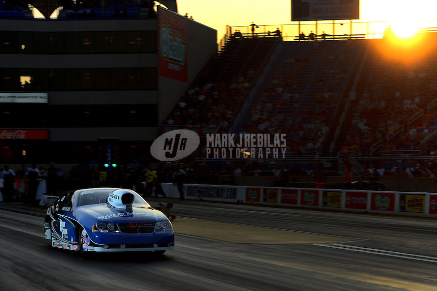 Jun. 30, 2012; Joliet, IL, USA: NHRA pro stock driver Chris McGaha during qualifying for the Route 66 Nationals at Route 66 Raceway. Mandatory Credit: Mark J. Rebilas-
