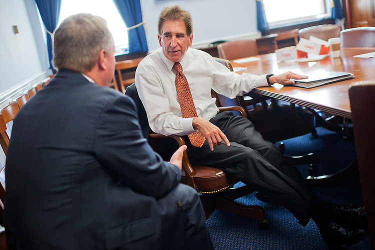 UNITED STATES - JUNE 24: Rep. Jim Renacci, R-Ohio, right, and David Joyce, R-Ohio, attend a Bipartisan Working Group meeting in Longworth Building, June 24, 2015. (Photo By Tom Williams/CQ Roll Call)