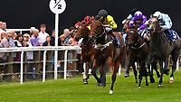 Winner of The Bathwick Tyres EBF Novice Stakes,Beringer (black cap) ridden by Finley Marsh and trained by Alan King  during Ladies Evening Racing at Salisbury Racecourse on 15th July 2017