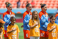 Houston, TX - Saturday May 13, Houston Dash players Cari Roccaro, Morgan Brian, and Amber Brooks stand for the national anthem during a regular season National Women's Soccer League (NWSL) match between the Houston Dash and Sky Blue FC at BBVA Compass Stadium. Sky Blue won the game 3-1.