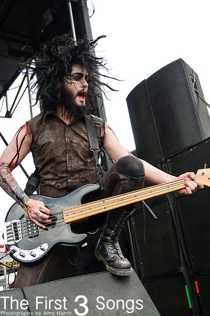 Devin Sola of Motionless In White performs during the 2013 Mayhem Festival at Klipsch Music Center in Indianapolis, Indiana.