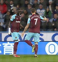 West Ham United's Marko Arnautovic celebrates scoring his side's second goal with Cheikhou Kouyate<br /> <br /> Photographer Rob Newell/CameraSport<br /> <br /> The Premier League - Huddersfield Town v West Ham United - Saturday 13th January 2018 - John Smith's Stadium - Huddersfield<br /> <br /> World Copyright &copy; 2018 CameraSport. All rights reserved. 43 Linden Ave. Countesthorpe. Leicester. England. LE8 5PG - Tel: +44 (0) 116 277 4147 - admin@camerasport.com - www.camerasport.com