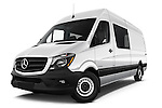 Stock pictures of low aggressive front three quarter view of 2016 Mercedes Benz Sprinter-Crew-Van 2500-170-WB-High-Roof 4 Door Combi Low Aggressive