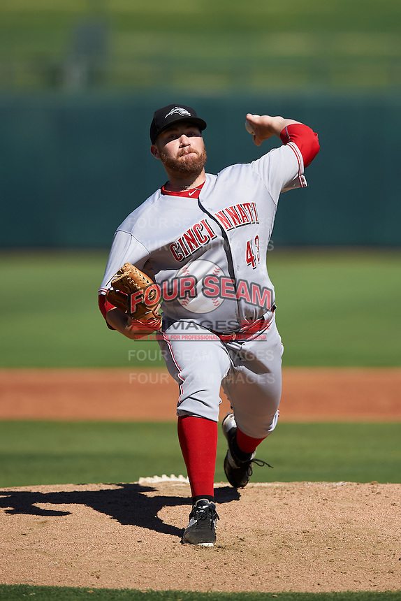 Peoria Javelinas pitcher Seth Varner (43), of the Cincinnati Reds organization, during a game against the Surprise Saguaros on October 20, 2016 at Surprise Stadium in Surprise, Arizona.  Peoria defeated Surprise 6-4.  (Mike Janes/Four Seam Images)