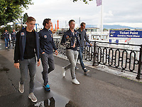 Swiss, Gen&egrave;ve, September 14, 2015, Tennis,   Davis Cup, Swiss-Netherlands, Dutch team walking to boattrip, ltr: Tallon Griekspoor, Matwe Middelkoop, Tim van Rijthoven and Thiemo de Bakker<br />