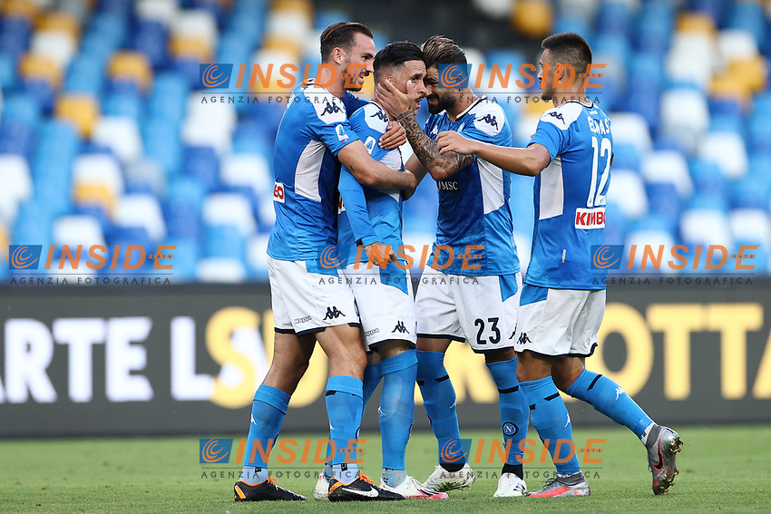 Jose Callejon of Napoli celebrates with team mates after scoring a goal<br /> during the Serie A football match between SSC  Napoli and SPAL at stadio San Paolo in Naples ( Italy ), June 28th, 2020. Play resumes behind closed doors following the outbreak of the coronavirus disease. <br /> Photo Cesare Purini / Insidefoto