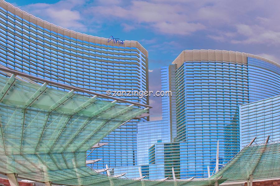 Las Vegas; Nevada;  CityCenter, Resort, ARIA, Vdara, Hotels & Casinos,  Hospitality, Strip; gambling; shopping, Sunrise, Blue Sky, Travel, Destination, View, Unique, Quality