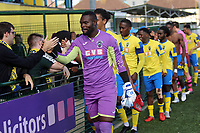 Valery Pajetat of Haringey leads the customary player crowd hand shakes during Haringey Borough vs Corinthian Casuals, BetVictor League Premier Division Football at Coles Park Stadium on 10th August 2019