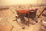 Village destroyed by Iranian forces. Marsh Arab soldier exhausted in wireless position. Iran-Iraq Iran Iraq war also known as First Persian Gulf War and by the British at the time as the Gulf War. Lasted from 1980 to 1988. Marsh Arab soldier. The Mesopotamian or Iraq Marshes near Basra