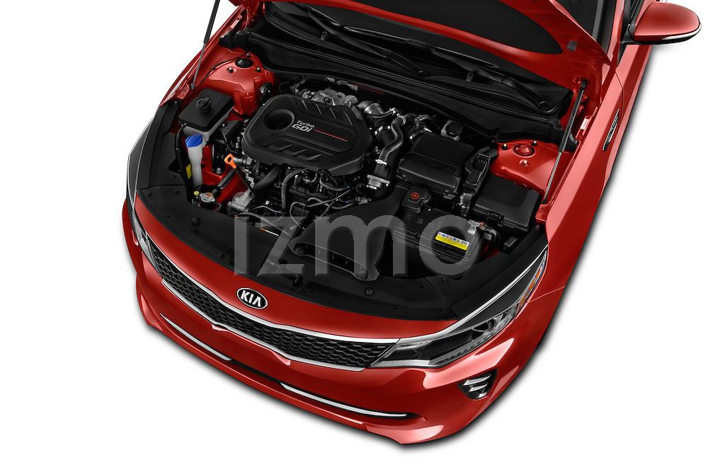 Car Stock 2018 KIA Optima SX 4 Door Sedan Engine  high angle detail view